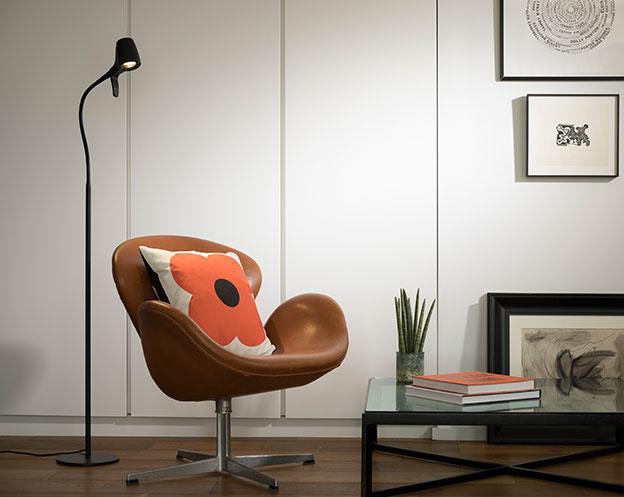 High Definition Floor Reading Light - Tan Armchair